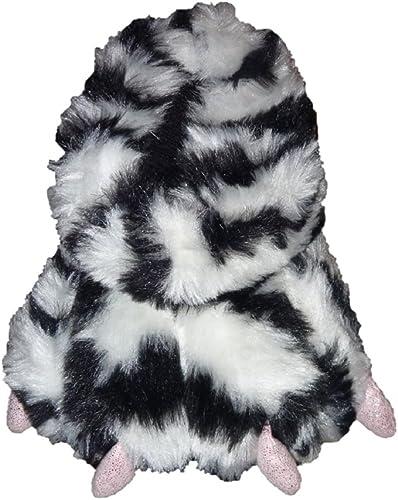 Ladies Zebra Slippers Animal Print Fur Padded Womens Gripper Slipper Black Pink