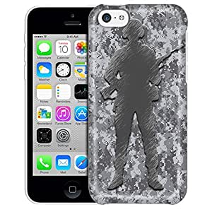 Apple iPhone 5C Case, Slim Fit Snap On Cover by Trek Digital Grey Camouflage Soldier Trans Case