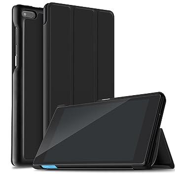 IVSO Lenovo Tab 7 Essential Funda Case, Slim Smart Cover Funda Protectora de Cuero PU para Lenovo Tab 7 Essential 7 Inch Tablet (Negro)
