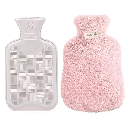 Bolsa para agua caliente, MMTX Funda para botella de agua caliente con funda de felpa Super Soft Luxury Seguro y duradero (antracita) - rosado