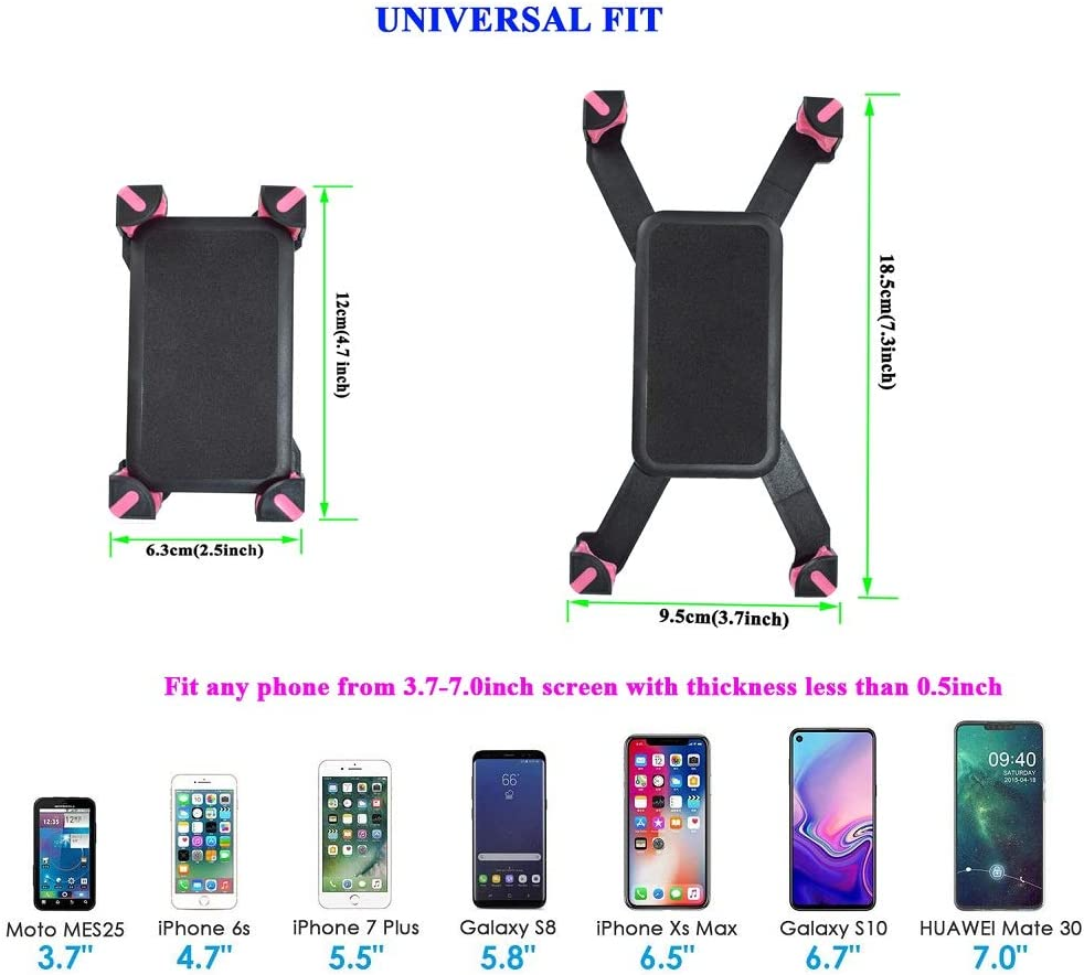 Unova Universal Bike Phone Mount 360/° Rotation Silicone Holder for iPhone Android Phone Pink in Black