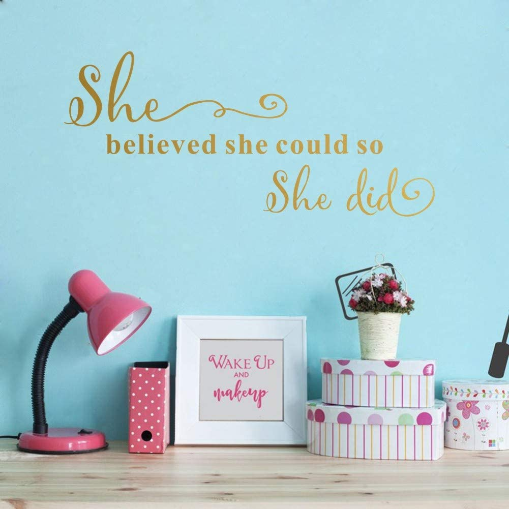 TOARTi She Believed She Could So She Did Wall Sticker, Motivational Lettering Saying Quotes for Girls Bedroom Wall Decal, Positive Large Mirror Sticker Home Wall Art, Gold