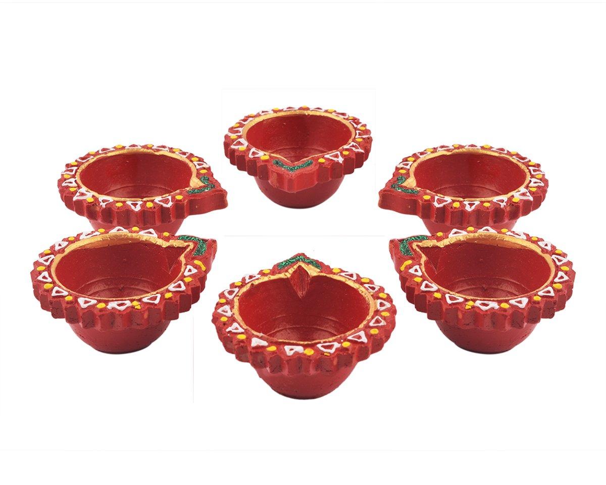 Store Indya, Diya Set Of 6 Handmade Clay Earthen Terracotta Diwali Diyas Lamps For Deepwali Door Pooja Festive Decorations storeindya