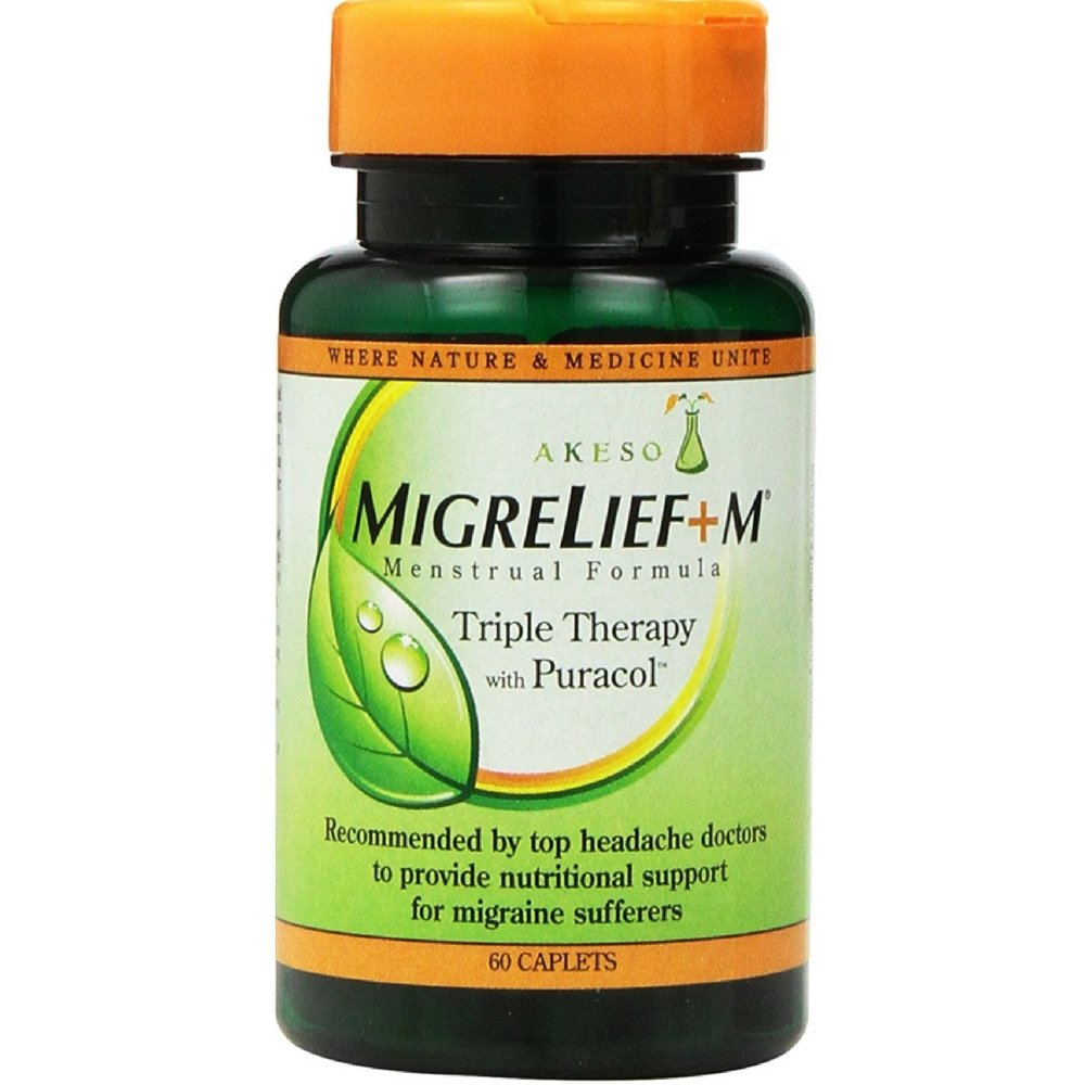 MigreLief+M Menstrual Formula Triple Therapy With Puracol Caplets 60 Caplets ( Pack of 5)
