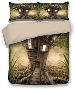 Khaki 6pc Bedding Set,Fantasy Tree House in Mysterious Forest with Windows Smoke Chimney King Duvet Cover Set,Printed Comforter Cover with 2 Pillowcases for Teens Boys Girls & Adults