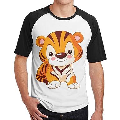 d0b18df56fde Amazon.com: Cute Little Tiger Classic Raglan Crewneck Short-Sleeve ...