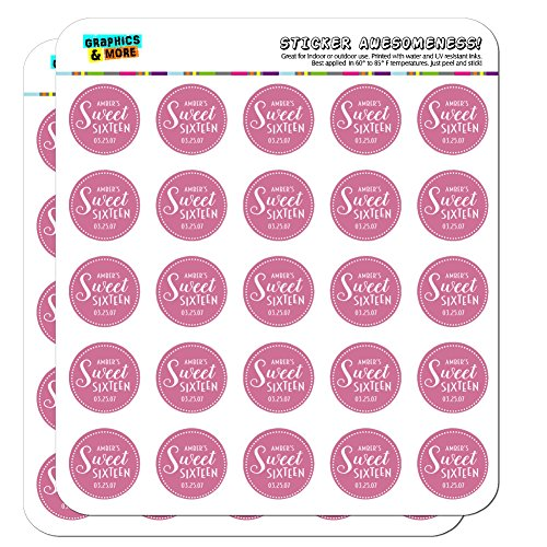 Sixteen Circles - Graphics and More Personalized Custom Dark Pink Dotted Circle Name's Sweet Sixteen Date Birthday Planner Calendar Scrapbooking Crafting Stickers - 50 1