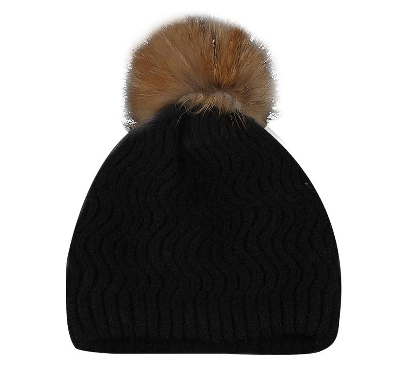 Singleluci Women Winter Crochet Hat Fur Wool Knit Beanie Raccoon Warm Cap