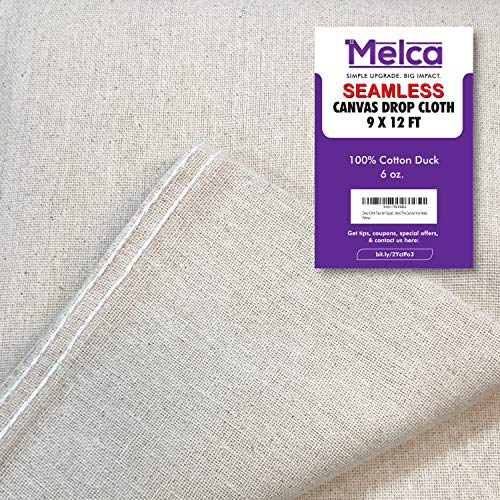 Drop Cloth Tarp Art Supplies - 9x12 Finished Size, 100% Cotton, Seams Only On The Edges, New Unmarked Fabric, Cotton Duck Fabric - Be Confident You Have The Canvas You Need. (Used What Pergolas For Are)