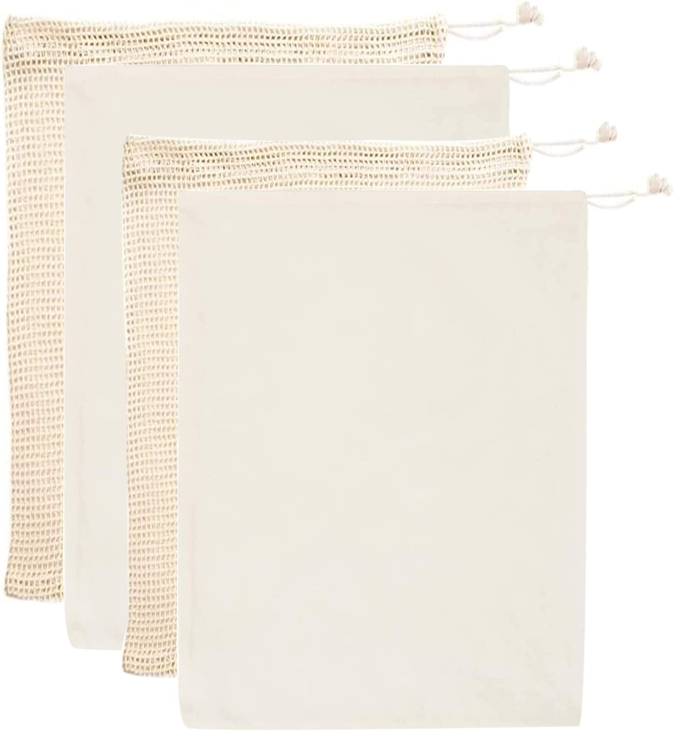 4 Pack Mesh Bags Cotton Reusable Produce Bags   Eco Friendly Double Sewing Grocery Storage Bags with Tags Drawstring Lock, for Veggies Fruits Bulk Food Shopping Biodegradable Washable Natural