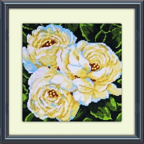 (Tobin DW2515 Needlepoint Kit, 10 by 10-Inch, White Roses)