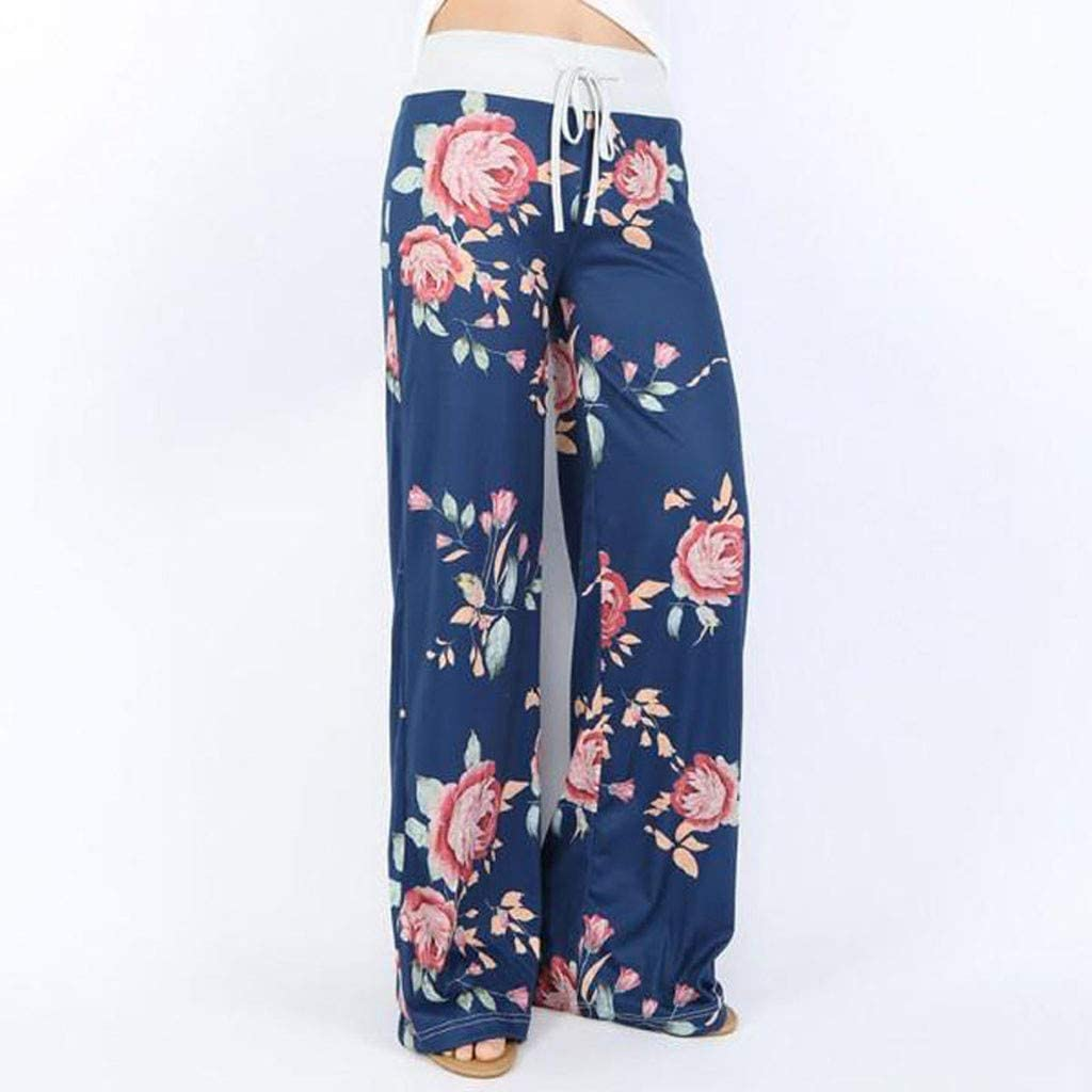Meikosks Womens Trousers High Waist Comfy Stretch Floral Print Drawstring Palazzo Wide Leg Lounge Pants