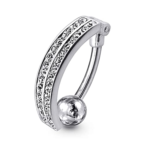 Real 925 Sterling Silver Clear Cross Surgical Steel Navel Belly Curved Bar Ring Fashion Jewelry Jewelry & Watches