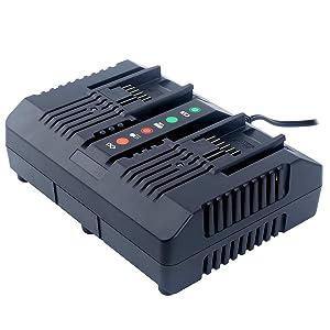 Lasica WA3875 20V Li-ion Dual Port 2 Hour Charger for Worx 18/20 Volt Lithium Batteries WA3525 WA3578 WA3520 WA3575 WA3512 WA3512.1 WA3522 WA3544 WA3742 Replacement Worx 20V Charger
