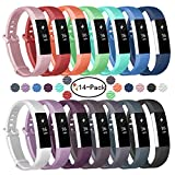 Soulen for Fitbit Alta Bands/Fitbit Alta HR Bands 14 Pack, Soft Silicone Replacement Bands for Fitbit Alta/Fitbit Alta HR (14 Pack, Small (6.3''-7.5''))