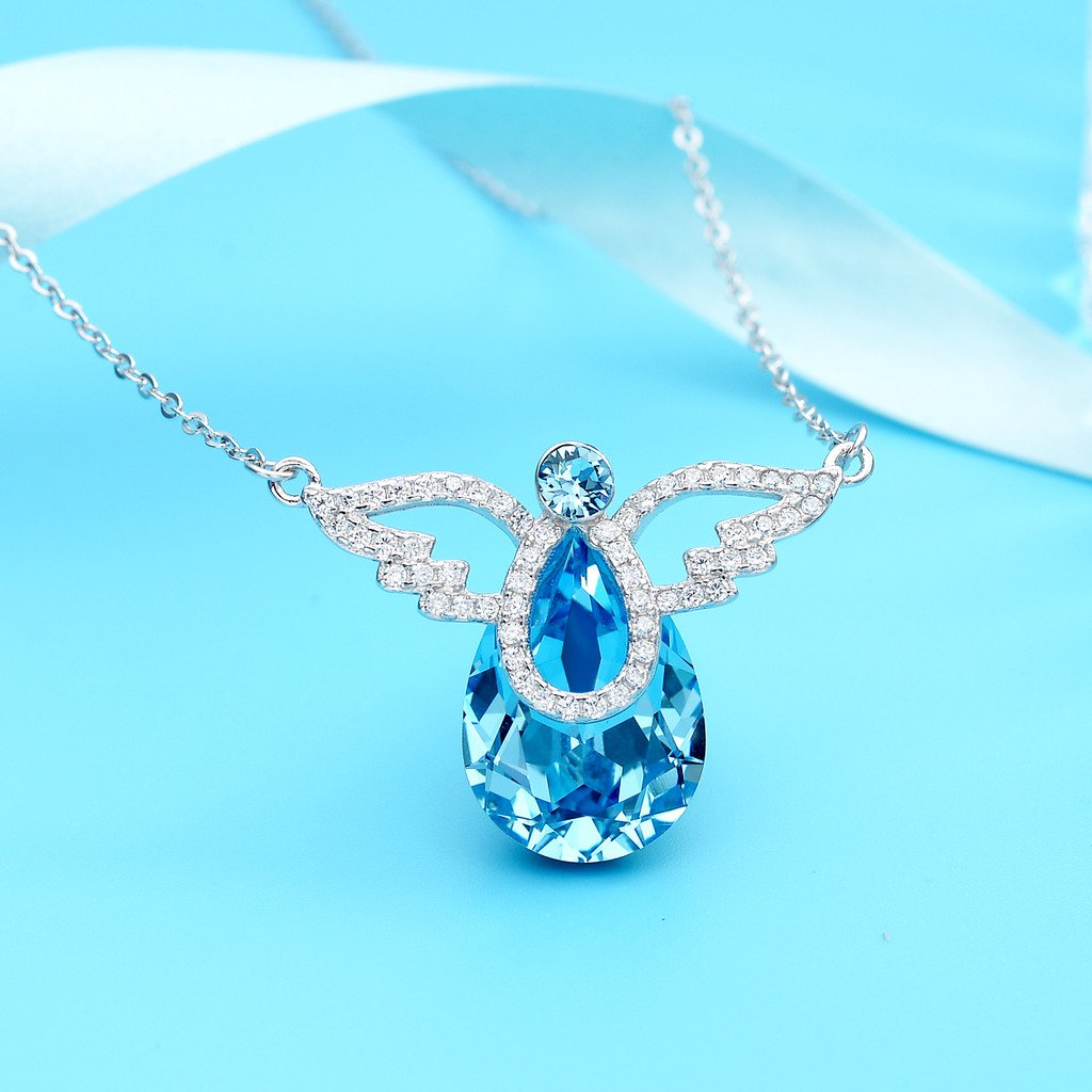 a2e62877f17 Amazon.com: EleQueen 925 Sterling Silver CZ Teardrop Angel Wing Pendant  Necklace Aquamarine Color Made with Swarovski Crystals: Jewelry