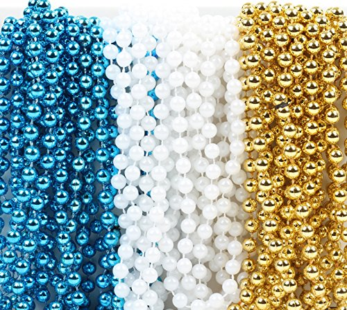 Andaz Press Mardi Gras Plastic Bead Necklaces Trio for Boy Christening Party Favors and Table Centerpiece Decorations, Baby Blue, Pearl White and Gold 36-Pack -