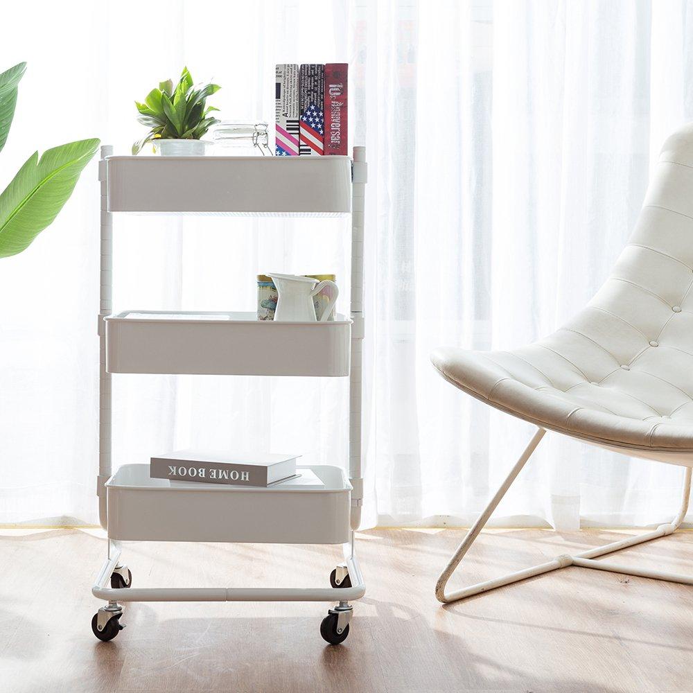 CORNERIA Elegant White Adjustable Rolling Utility Cart - Heavy Duty Mobile Storage Organizer