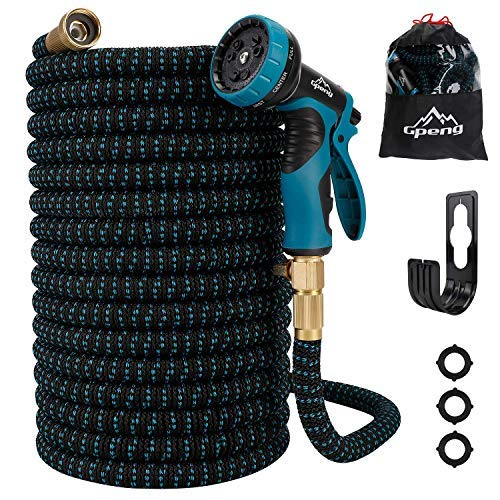 Gpeng Expandable Garden Hose – 25/50/100 Feet Strongest Triple Core Latex and Solid Brass Fittings with 9 Function Spray Nozzle 3/4″ USA Standard Kink Free Retractable Flexible Water Hose Pipe(25ft)