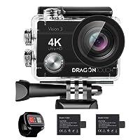 Caméra Sport 4k Dragon Touch WiFi avec Télécommande 2.4G, Caméra Sportive Etanche sous-Marine,Grand Angle 170°, 2 Batteries 1050mAh Rechargeables, Kits d'Accessoires, App (XDV) - Vision 3