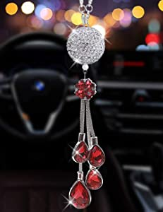 ALOTEX Bling Car Interior Accessories for Women Bling Car Decoration Crystal Silver Ball with Red Drop Car Rear View Mirror Charms Decor,Hanging Bling Mirror Pendant Car Accessories(Silver Ball-Red)