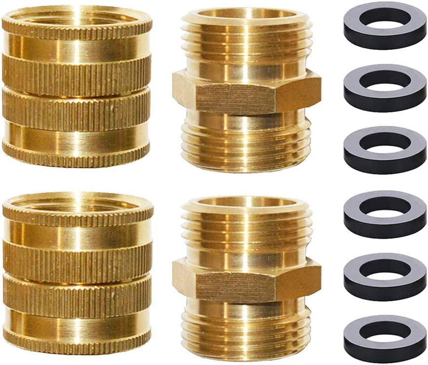 HQMPC Garden Hose Adapter, Double Female Swivel Hose Connector with Double Male Hose Connector 3/4 Inch GTH Brass Connector, Garden Hose Connector (4 Pack) with 6 Pcs Washers
