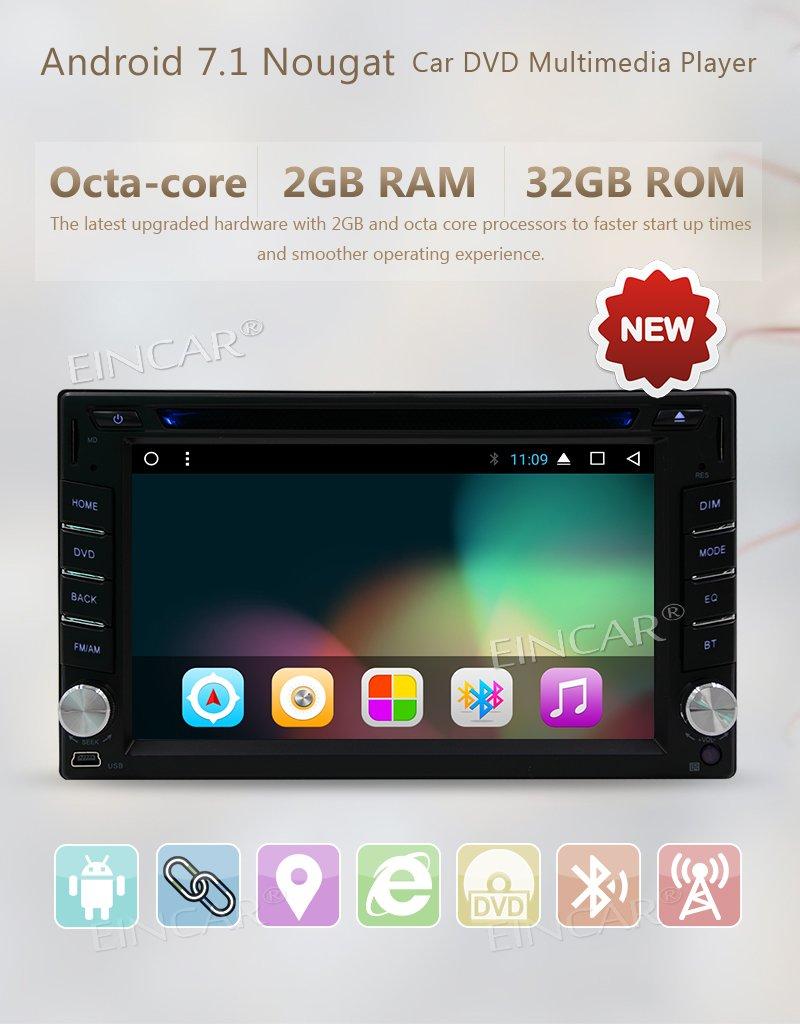 EINCAR Radio de Coche Android 7.1 + GPS Navigation + Unidad 2 DIN + USB/SD + 2 GB de RAM 32 GB de ROM + en el Tablero de Coches Reproductor de ...
