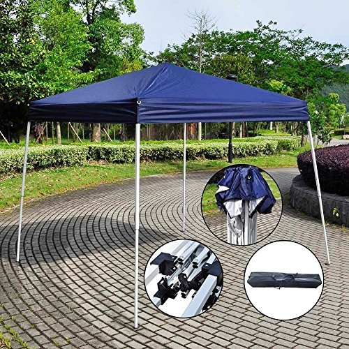 8X8 Ft Pop Up Canopy Tent Portable Home Outdoor Party Tent Shade Instant Folding Gazebo With Carry Bag Blue