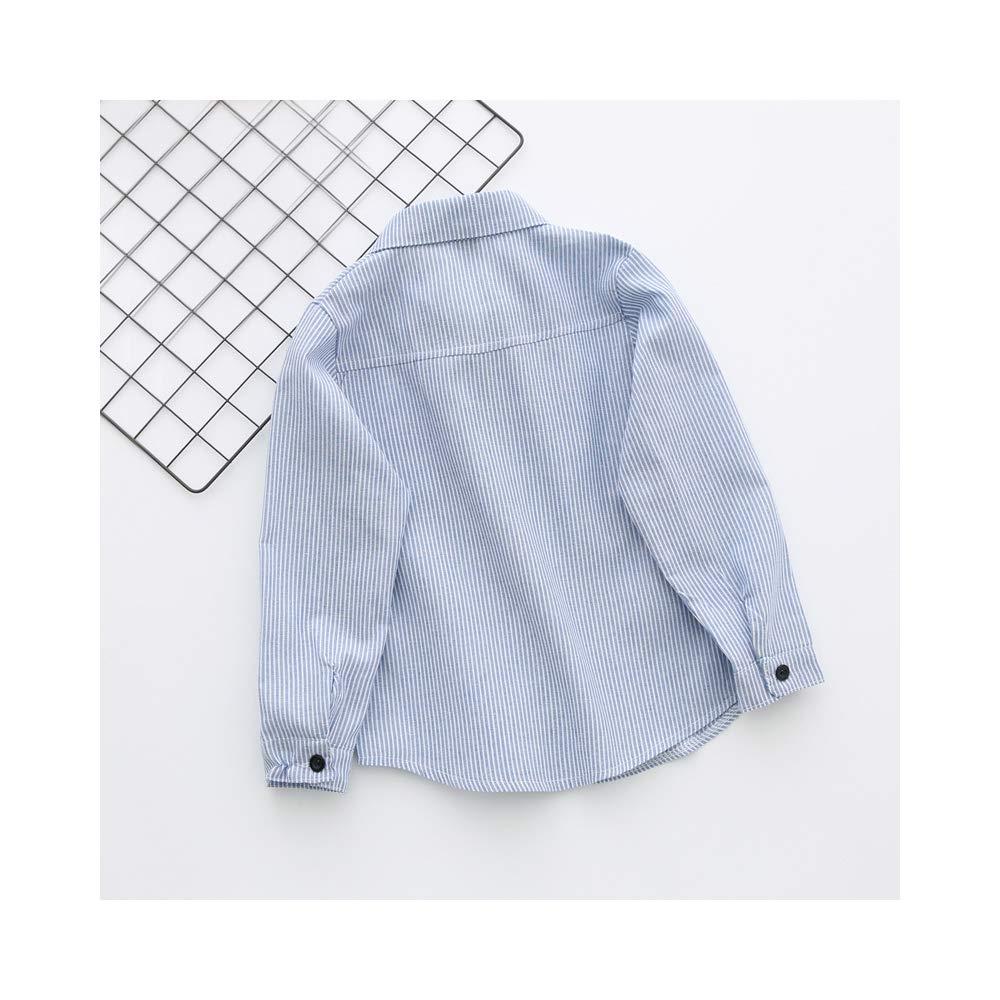 Phorecys BoysLong Sleeve Button Down Cotton Stripe Shirt