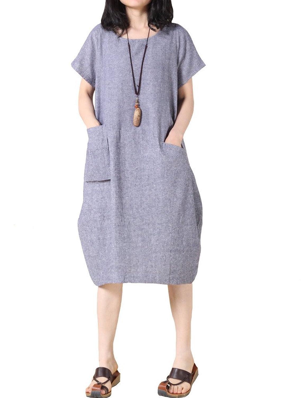 Vogstyle Damen Sommer beiläufige Pullover Kleid