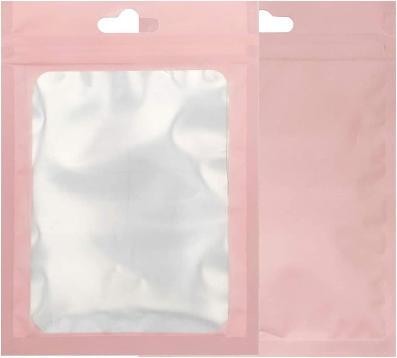 QQ Studio Pack of 100 Matte Window Color Border Mylar Foil Flat QuickQlick Bags for Small Accessories, Paper Clips, Memo Pad, Stickers Storage Organization Pouch (Pink, 7