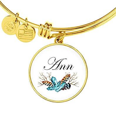 024063a13d400 Amazon.com: Ann v4-18k Gold Finished Bangle Bracelet Personalized ...