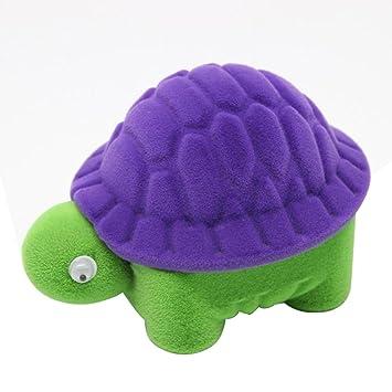 fixuk tortuga pequeña joyería pantalla funda anillos de boda caja de regalo de almacenamiento, Purple