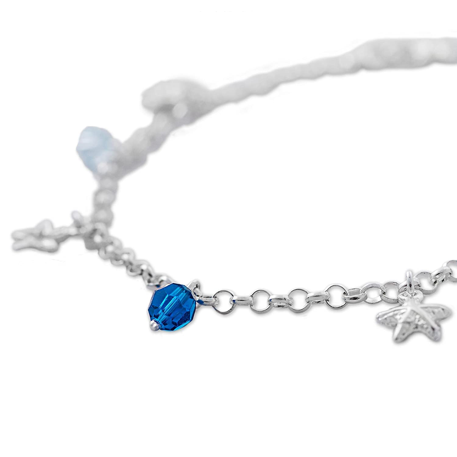 NOVICA Cubic Zirconia .925 Sterling Silver Charm Anklet 10.25 Stars of the Sea