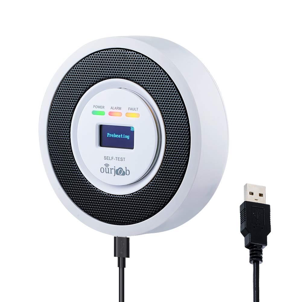 Detector de Gas LPG/Natural/Ciudad, USB, Gas Combustible Butano/Propano/Metano, con Alarma