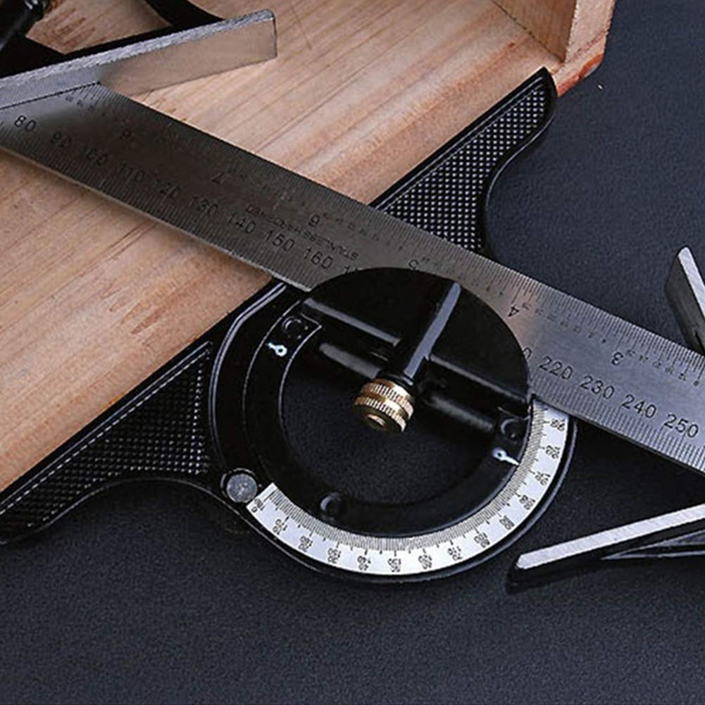 vitihipsy Woodworking Protractors Square Set 600mm Ruler Multi Combination Square Angle Finder Set Steel Ruler