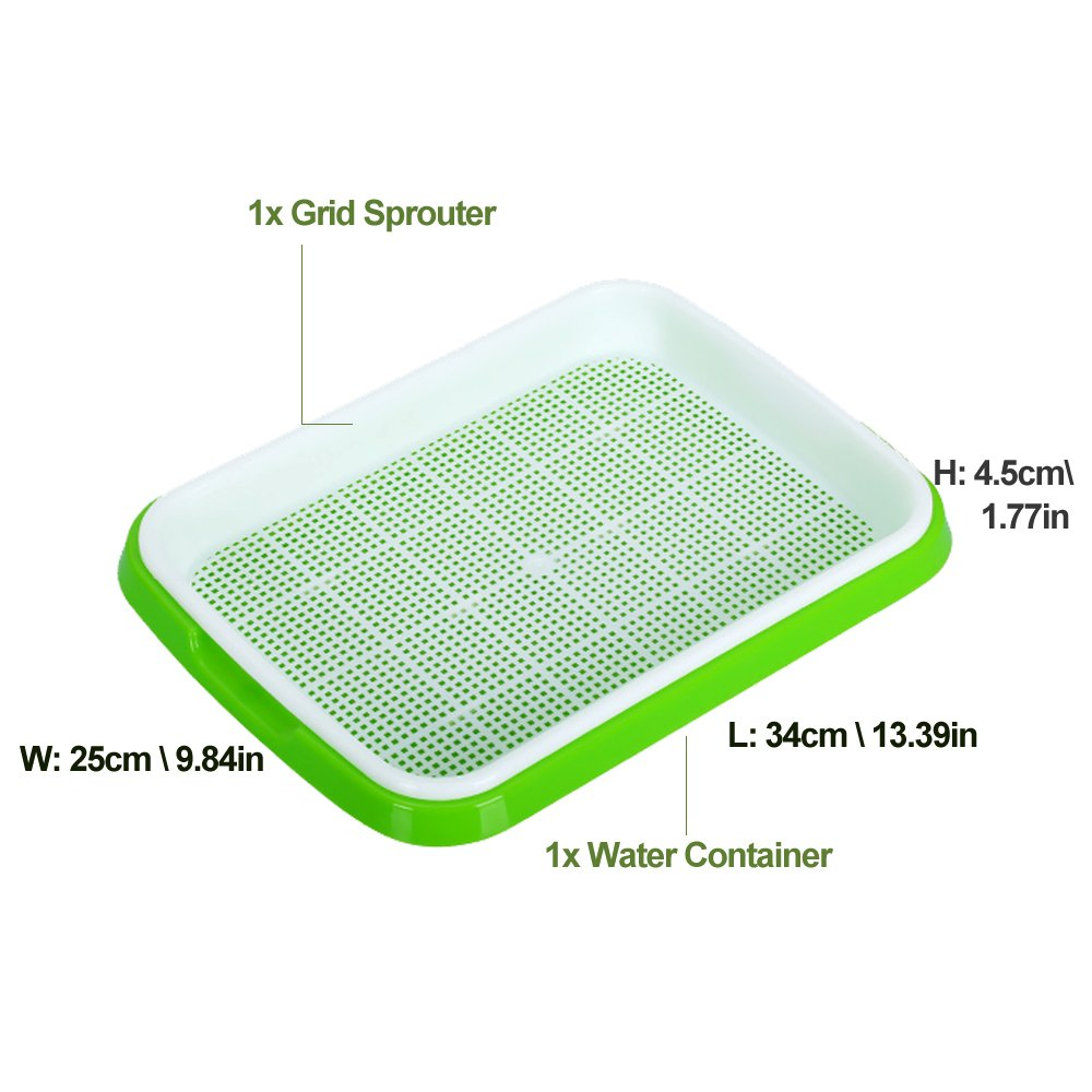 Seed Sprouter Trays,2 Set Soil-Free Densely Small Hole Healthy Wheatgrass Grower 9.84x13.4x1.77inch by LeJoy Garden (Image #4)