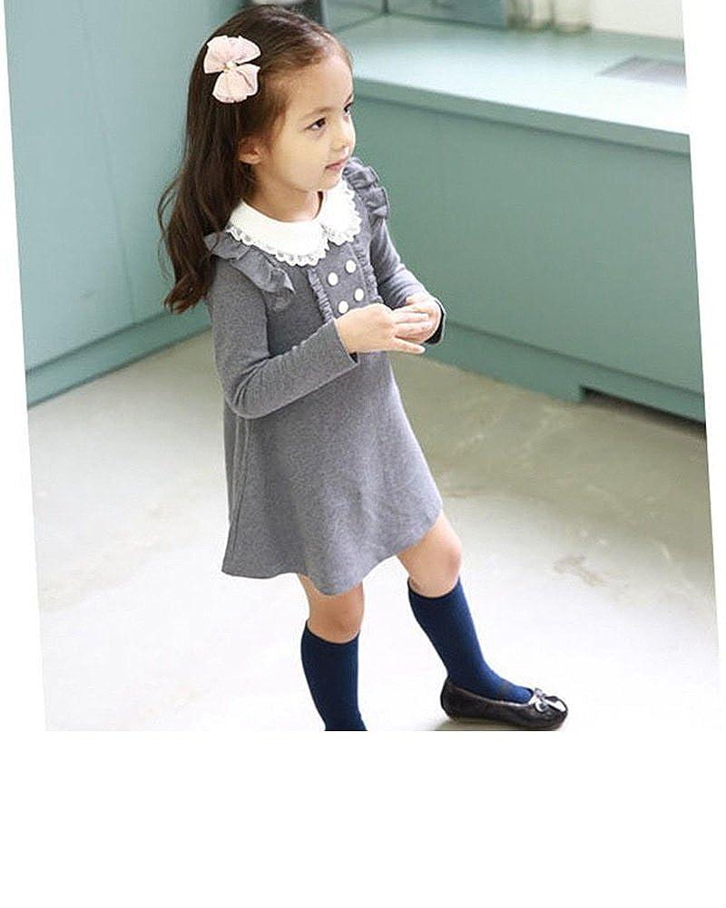 275ea7ab8 Amazon.com: VIYOO Girls Cotton Holiday Dress 3-9 Year Kids Long Sleeve  Clothing: Home & Kitchen