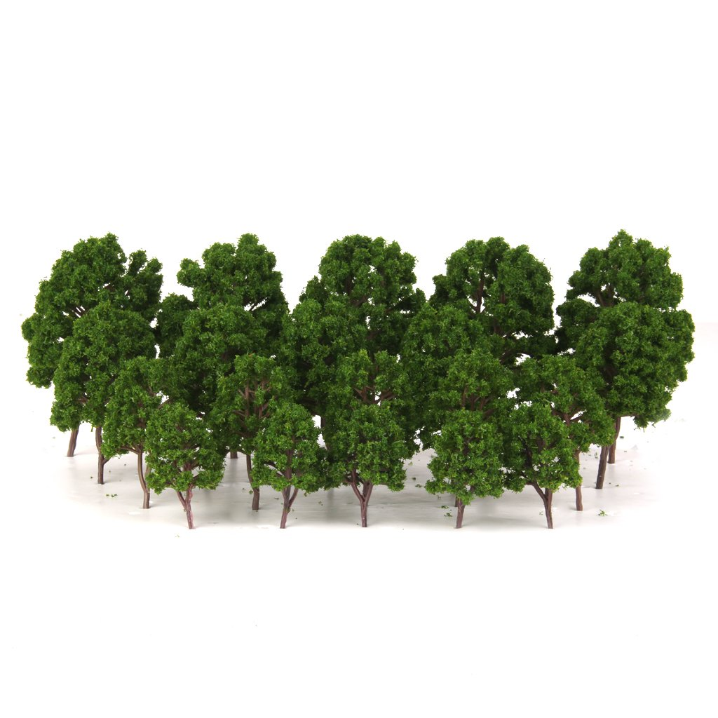 20pcs Green Tree Model Train Railway Garden Park Scenery HO N Scale 1/75-200 Generic