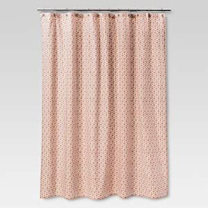 threshold geometric shapes shower curtain 72 x 72 coral off white light green. Black Bedroom Furniture Sets. Home Design Ideas