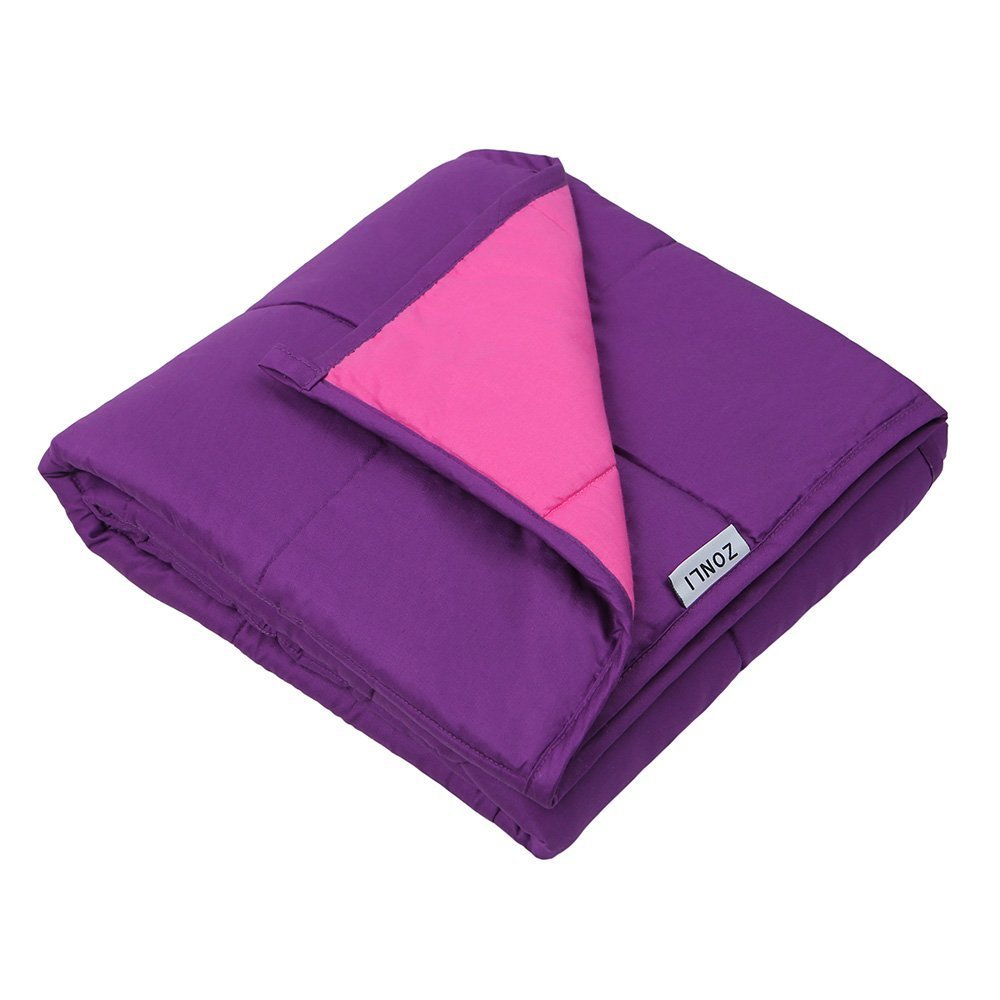 ZonLi Small Weighted Cooling Blanket (7lbs for 50-90 lbs individual, 41''x60'', Pink/Purple) for Children, Girls and Boys | Great for Autism, ADHD, Stress and Anxiety Relief | Fit Full Sized Bed