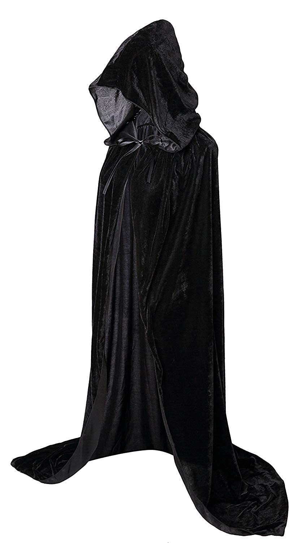 Hooded Cloak Long Velvet Cape for Christmas Halloween Cosplay Costumes 59inch Long Unisex Adult