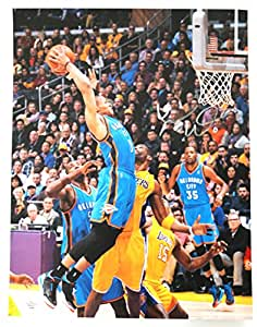 Russell Westbrook Oklahoma City Thunder Signed Autographed 11 x 14 Two Hand Dunk Photo PAAS COA