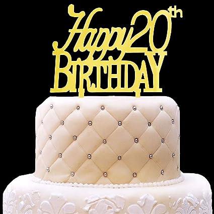 Amazon Com Happy 20th Birthday Cake Topper Acrylic Gold Mirror For