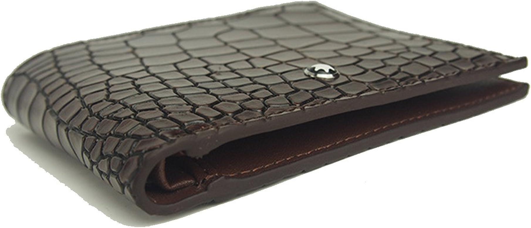 3778de6d78f6 Mens Leather Bifold Wallet with Alligator Pattern