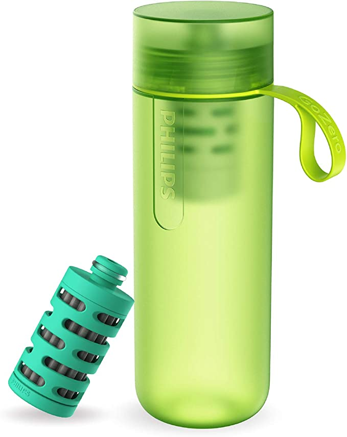 Garrafa de Água Philips GoZero Adventure AWP2722LIR Verde - Squeeze com Capacidade 590ml Com Filtro AWP294/295