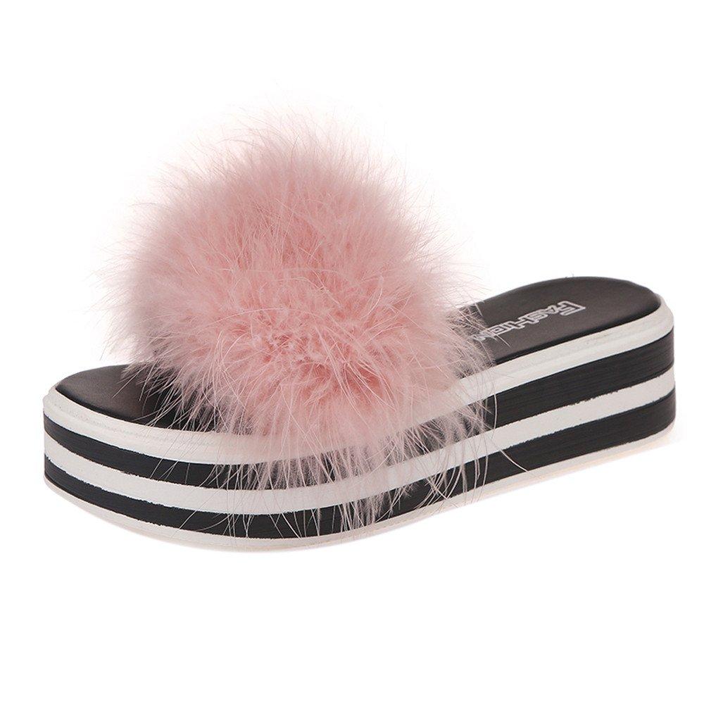 VonVonCo Fashion Women Sponge Cake Faux Fur Flip Flop Slippers Open Toe Flat Shoes Sandal
