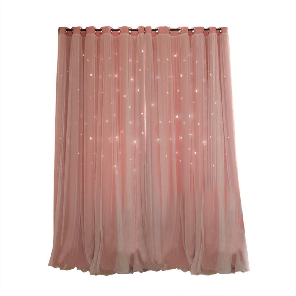 VORCOOL Rideau Occultant de Motif Étoiles Creuses avec Double Gaze pour Salon Chambre (Rose)