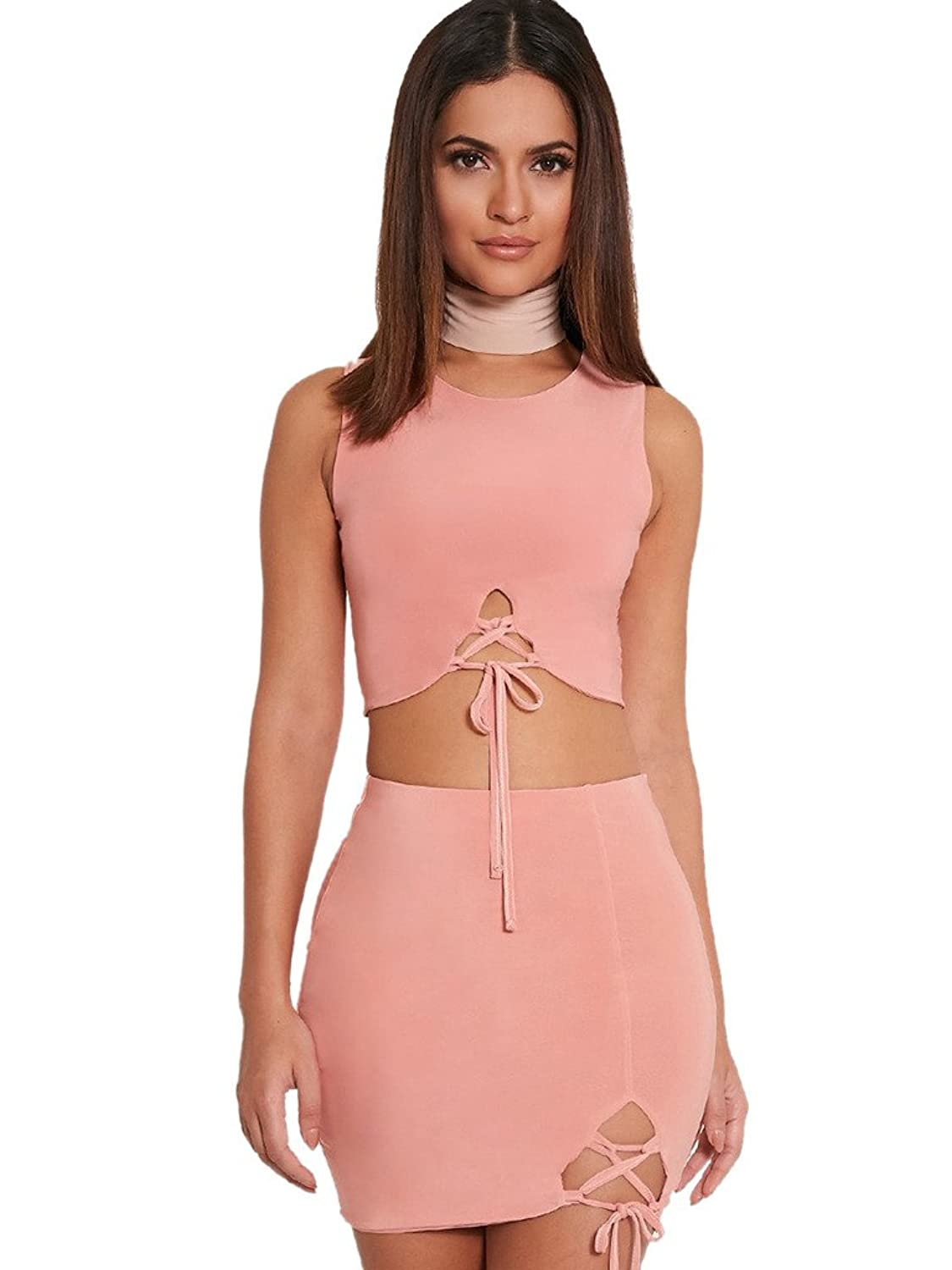 Famulily Women's Two Piece Dress Crop Top and Pencil Skirt S