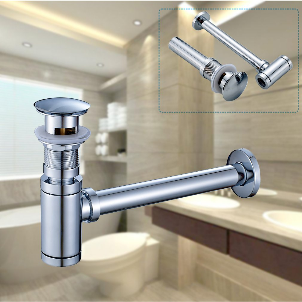 Rovate Bathroom Sink Round Bottle Trap Zinc Alloy Waste Plumbing Kit In Addition Kitchen Drain Diagrams P Tube And Pop Up Stopper With Overflow Chrome